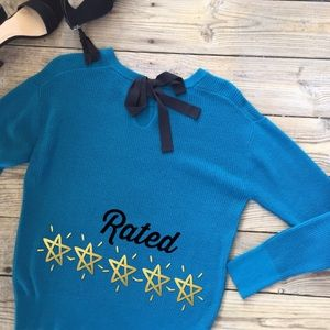 Sweaters - Final Drop! Bow Knit Sweater in Turquoise Medium